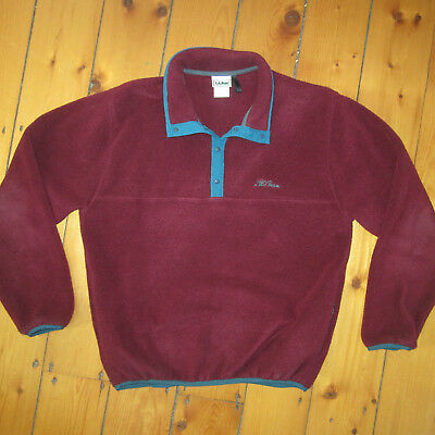vintage Burgundy mens Small L.L. Bean boxy Fleece made in USA soft