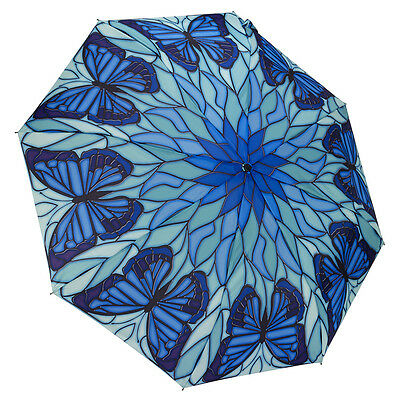 Galleria Ladies Auto Folding Boxed Umbrella - Stained Glass Butterfly - Blue