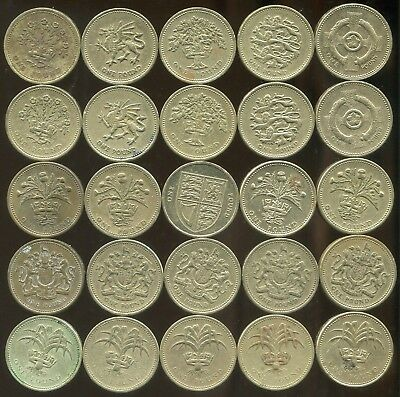 Lot of 25 Dealer/Beginner £1 Great Britain Circulated UK One Pound Coins