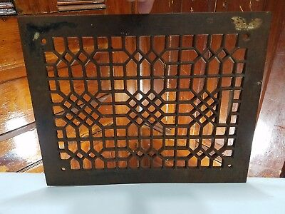 "Vintage vent grate 12"" x 9"" cast iron register"