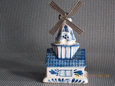 Vintage Delft Blue Windmill Coin Bank Hand Painted In Holland