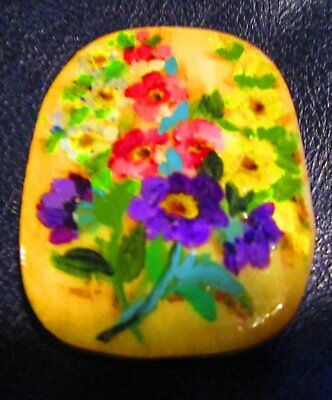 "Vintage Hand Painted Bone Pendant Flowers Both Sides Great Patina 2"" X 1.5"""