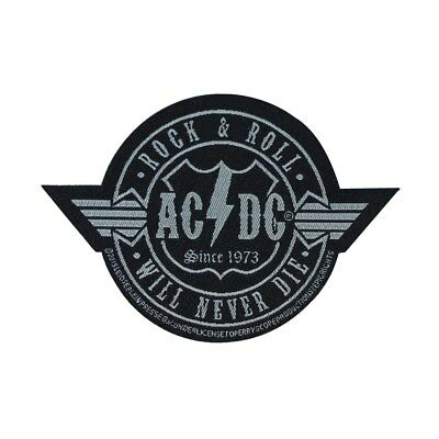 AC/DC ACDC Rock & Roll Will Never Die Patch Hard Rock Band Woven Sew On Applique