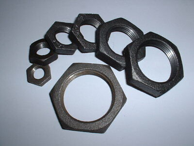 """Malleable Iron Backnut All Sizes Black Or Galvanised 1/4""""bsp To 1.5""""bsp Locknut"""