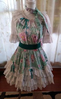 2 Piece Square Dance Outfit, Belt, Neck Tie Teal/Green Floral Donna's Delights S