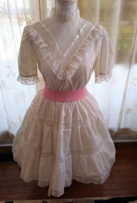 2 Piece Square Dance Outfit Ivory Poly Cotton Victorian Style Blouse w/Lace Sm/P
