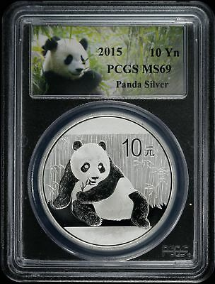 2015  Chinas Peoples Republic Silver Panda 10 Yn Pcgs  Ms 69 Mint State  (078)