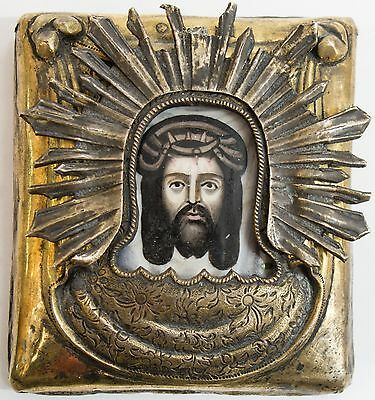 Old Antique Russian Icon-Finift of Image Not Made By Hands, 19th c
