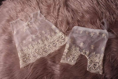 Newborn Baby Girl,White.Gold embroidered,Lace Vintage,Dress & Pant Set,with low
