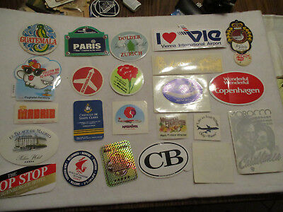 Vintage World Travel  Luggage decals Hotel Airlines