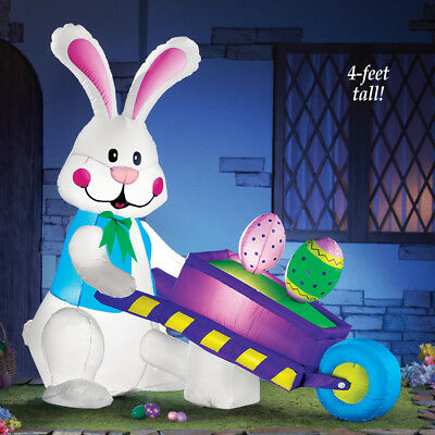 4 Ft. Tall Lighted Easter Bunny w/ Cart Outdoor Airblown Inflatable