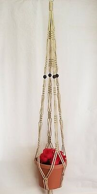 MACRAME PLANT HANGER 55in Vintage 6mm with BEADS *CHOOSE COLOR*