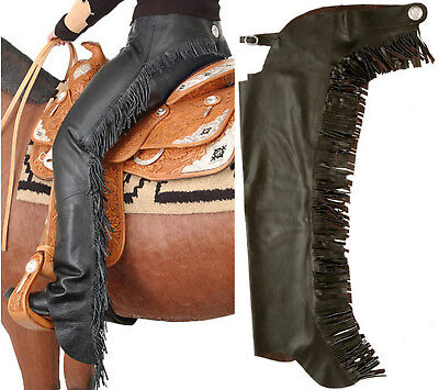 Western Horse Black Smooth Leather Show Chaps Medium W/ Fringe Motorcycle Chaps