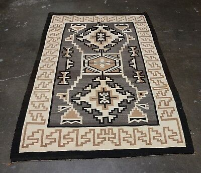 Navajo Indian Two Gray Hills Rug Attributed to Master Mary Yanabah Curley  1920