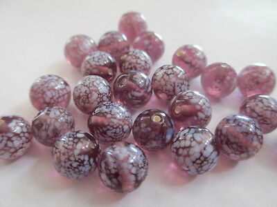 W975-36pcs ANTIQUE West German Round Amethyst w/ White Frit 8mm Glass Beads!!