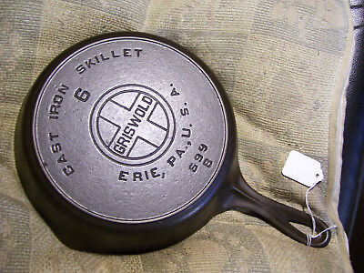 #6 Griswold Cast Iron Skillet, 699B, Heat Ring,Large Logo,Block, Fully Restored