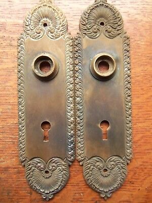 Two Antique Fancy Dark Brass Victorian Door Plates Doorplates c1885