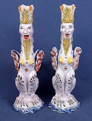 Two c. 1920 French Faience Quimper Grotesque Candlesticks by Birks, Paris