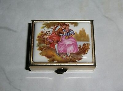 French Scene Pill Box Metal Case cottage chic vintage purse pocket travel
