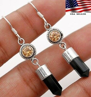"Faceted Black Tourmaline 925 Solid Sterling Silver Earrings Jewelry 1 7/8""  A7-2"