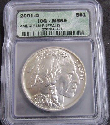 2001-D American Buffalo $1 Commemorative Coin .999 Fine Silver ICG MS69
