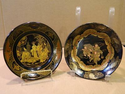 2 Different Hand Painted Black & Gold Lacquered Paper Mache Plates Antique [e]