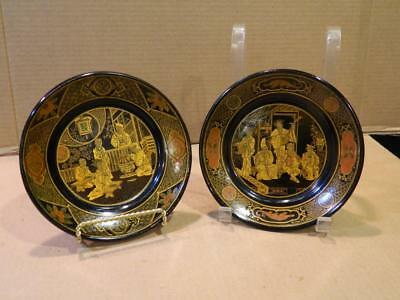 2 Different Hand Painted Black & Gold Lacquered Paper Mache Plates Antique [f]