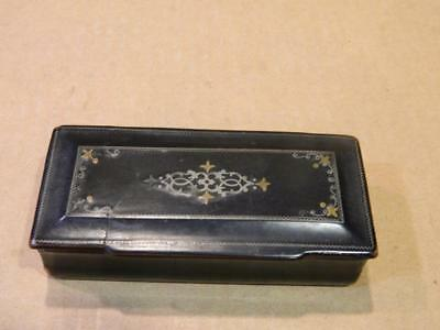 Black Lacquer Wood Snuff Box Inlaid Silver & Brass Trim Rectangular Antique