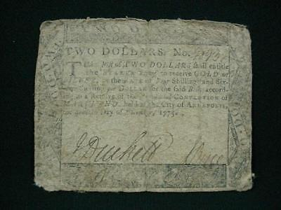 NobleSpirit NO RESERVE {3970} Excellent 1775 Maryland $2 Colonial Currency