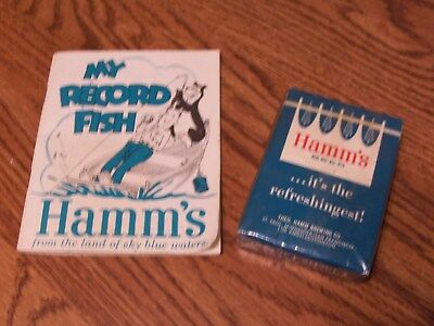 Vintage Hamm's Beer Playing Card Deck Still Sealed Fish Record Book Sign Bear