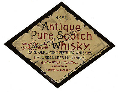 Vintage Greenlees Brothers, Argyleshire, Scotland Pure Scotch Whiskey Label