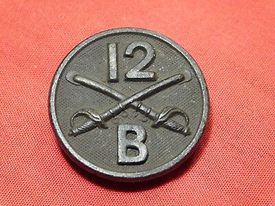 Scarce WWI US Army 12th Cavalry Collar Pin Device B Co. Enlisted Insignia
