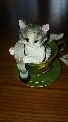 Adorable Jurgen Scholz Cozy Kitten Teacup Collection Ornament Cat with Inkwell
