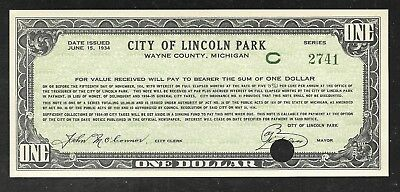 US Depression Scrip - 1 Dollar Note - 1934 - City of Lincoln Park, MI - Unc.