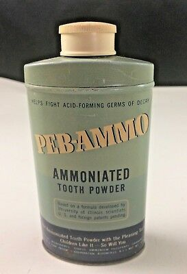Vintage PEB-AMMO AMMONIATED TOOTH POWDER 4 Ounces Full Contents tin with lid NOS