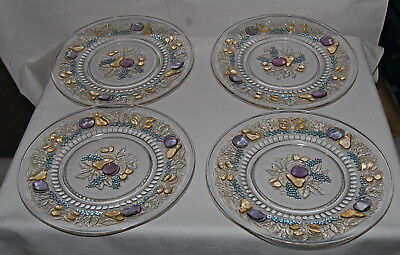 Consolidated Glass Company 5 Fruit Clear Color Flashed 4 Luncheon Plates Martele