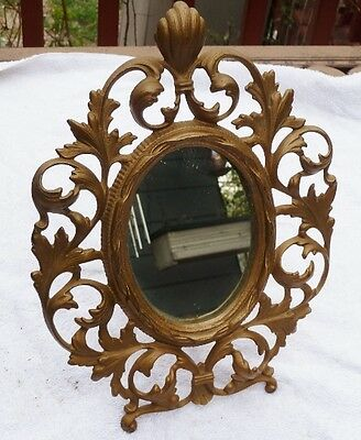 Antique Victorian Ornate Brass Over Cast Iron Easel Oval Mirror 5x4 Rococo?