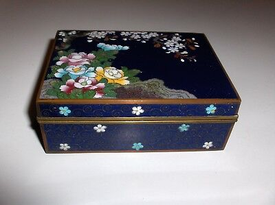 Antique Kyoto Inaba Floral Design Cloisonne Blue Enamel Humidor Box Signed