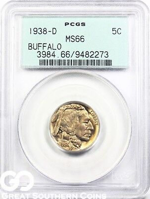 1938-D PCGS Buffalo Nickel PCGS MS 66 ** Old Green Holder, Very PQ