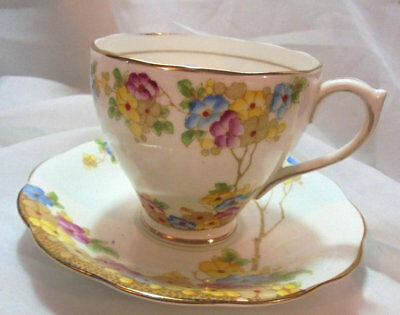 Royal Standard Bone China Cup and Saucer with Colorful Flowers and Gold Trim