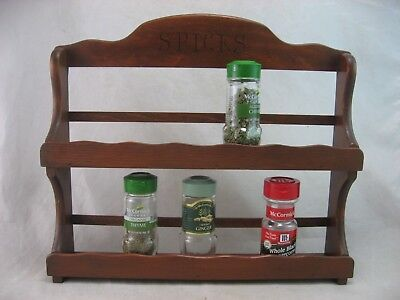 Wood Spice Rack/brown Spices Letters 2 Tiers Empty, Fits 14 Mccormick  Jars
