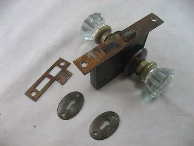 Door Knob Set Glass And Brass, Bedroom Lock Back Covers And Key Cover Antique #3