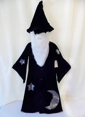 Pottery Barn Kid WIZARD 2 3  Halloween TREAT BAG  Costume Robe beard Hat Magic
