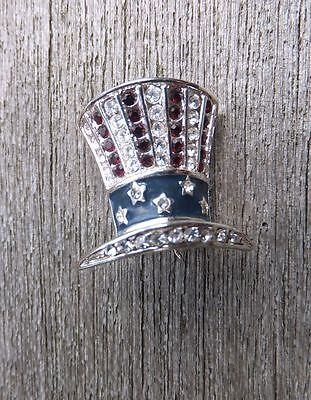 Rare Vintage 40's Monet Rhinestone Patriotic Uncle Sam Top Hat Pin Flag WWII