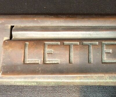 """Vintage Brass """"LETTERS"""" Mail Slot Hinged Door Beveled Edge Architectural Salvage"""