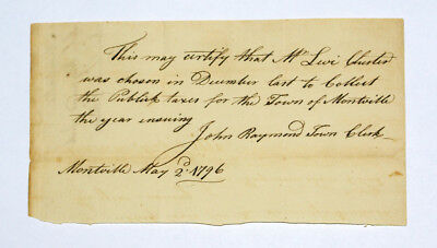 1796 Colonial Era Document To the Connecticut Treasurer from Town of Montville