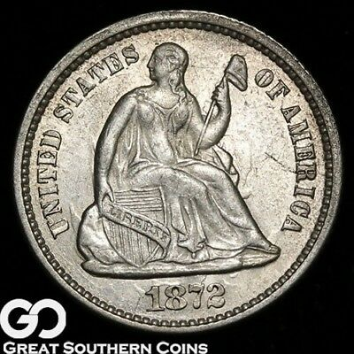 1872 Seated Liberty Half Dime,Tough Silver Type, Choice Uncirculated++