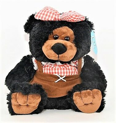 "Giftable World Plush Hillbilly Girl Bear Super Soft Stuffed Toy 10"" in Black"