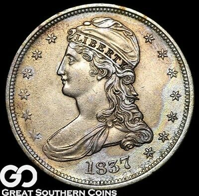 1837 Capped Bust Half Dollar, Reeded, RARE This Nice, BU++ Better Date!