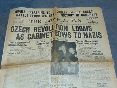 Sept. 21. 1938 Lowell Mass. Newspaper: Pre-Wwii Czechoslovakia Bows To Hitler